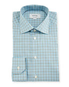 Contemporary-Fit Check Dress Shirt, Aqua/Brown