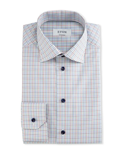 Contemporary-Fit Check Dress Shirt, White/Red/Navy