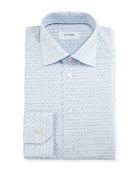 Slim-Fit Poppy-Print Dress Shirt, White/Blue