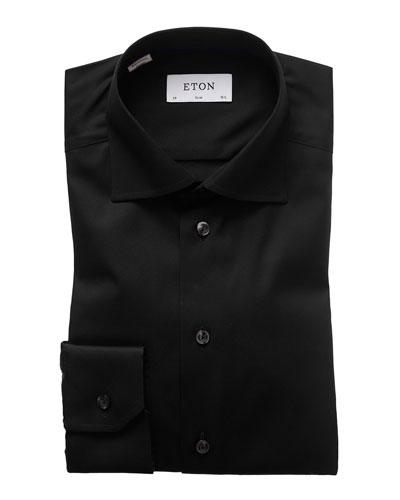 Slim-Fit Solid Dress Shirt, Black
