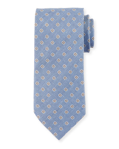 Flower Neat Linen/Silk Twill Tie, Blue/Gray