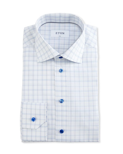 Slim-Fit Box Check Dress Shirt, White/Blue