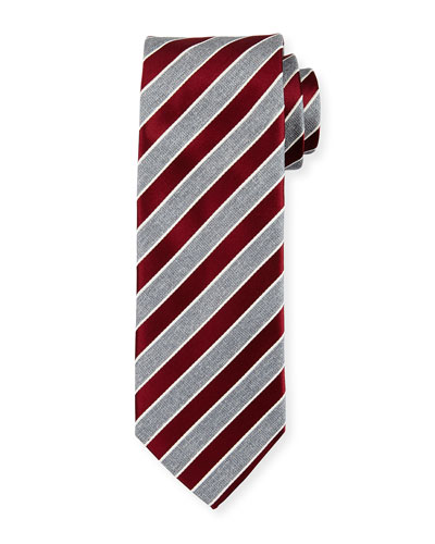 Repp Stripe Silk Tie, Dark Red