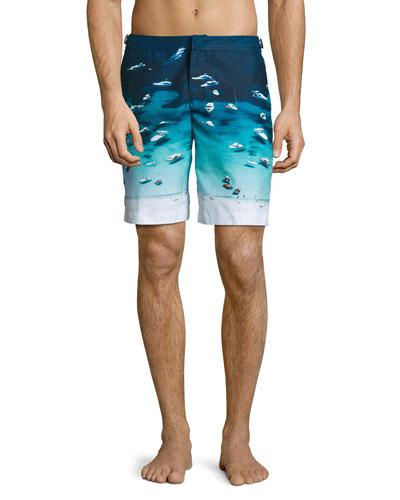 Dane Boat-Print Swim Trunks, Blue