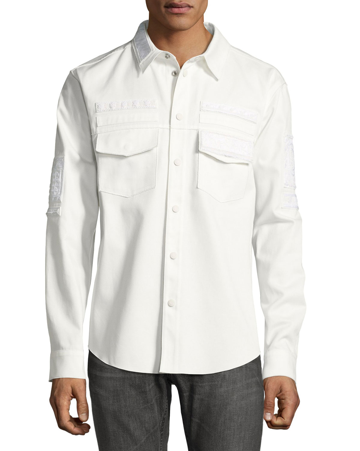 Embroidered Military Shirt, White
