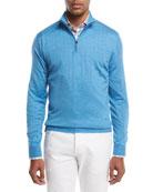 Cashmere-Blend Half-Zip Pullover Sweater, Light Gray