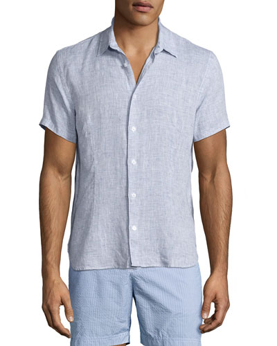 Meden Tailored-Fit Short-Sleeve Linen Shirt, Navy