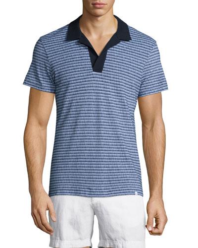 Felix Micro-Stripe Woven Polo Shirt, Navy