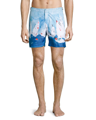 Bulldog Sailboat Race Swim Trunks, Medium Blue