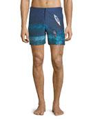 Orlebar Brown Bulldog Deep Sea Printed Swim Trunks,
