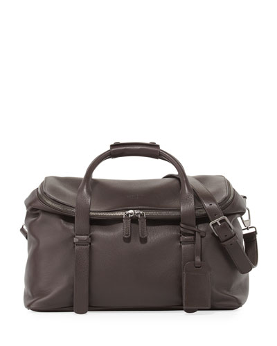 Deerskin Leather Weekender Bag, Brown