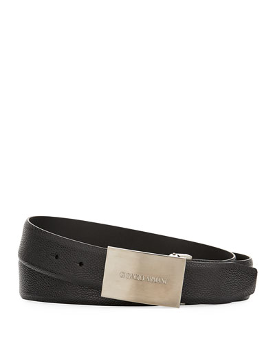 Caviar Leather Belt, Black