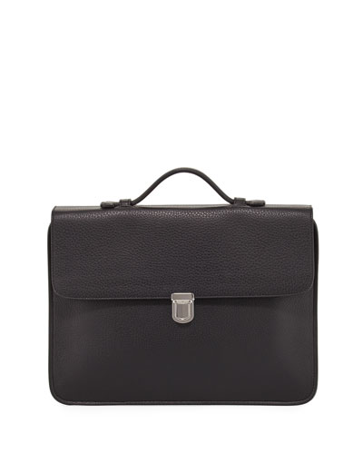 Leather Flap-Top Briefcase, Black
