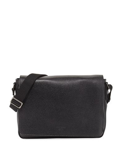 Caviar Leather Messenger Bag, Black
