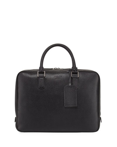 Caviar Leather Briefcase, Black