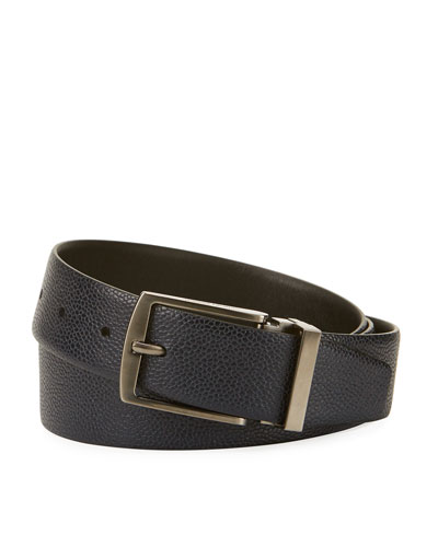 Grained Calf Leather Belt, Navy