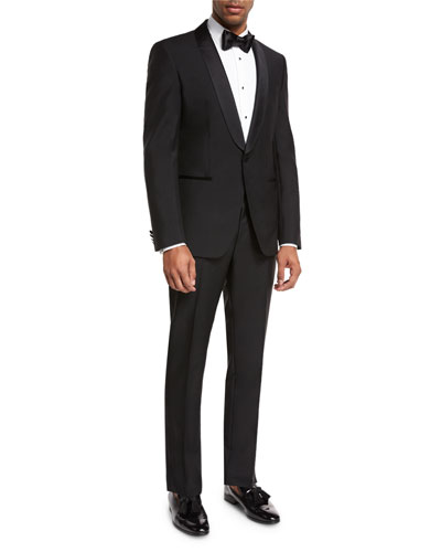Satin-Collar Two-Piece Tuxedo, Black