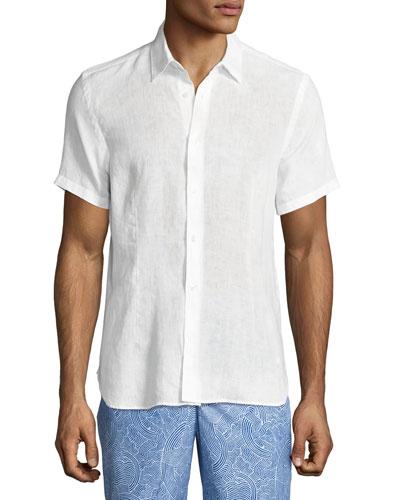 Meden Tailored-Fit Short-Sleeve Linen Shirt, White
