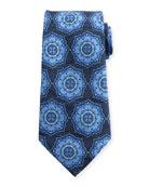 Ornate Medallion Silk Tie, Blue