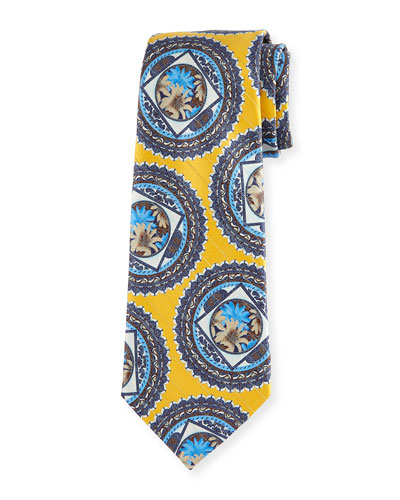 Floral Medallion Jacquard Tie, Yellow
