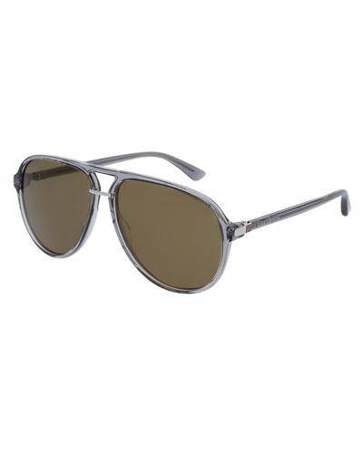 Translucent Acetate Aviator Sunglasses, Gray