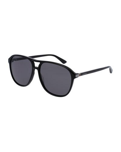 Men's Acetate Aviator Sunglasses, Black