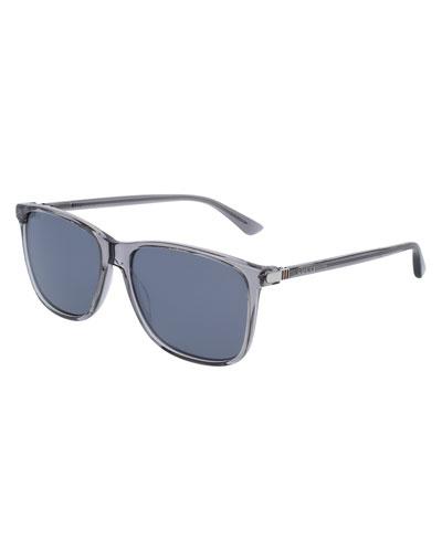 Translucent Acetate Square Sunglasses, Gray