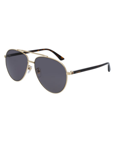 Metal Aviator Sunglasses, Golden/Gray