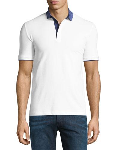 Chambray-Collar Polo Shirt, White