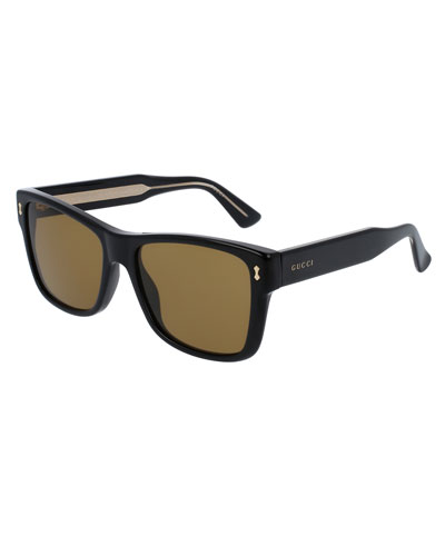 Men's Runway Acetate Rectangular Sunglasses, Black