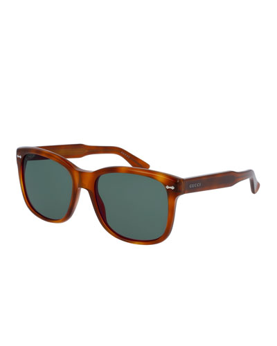 Men's Runway Havana Acetate Square Sunglasses, Brown