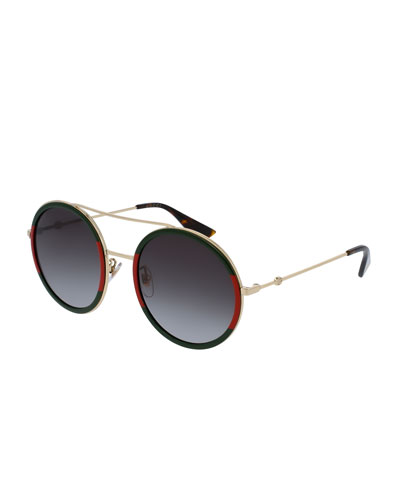 Web Round Sunglasses, Green/Red/Green