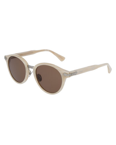 Round Acetate Sunglasses w/Engraved Details, Pearlescent