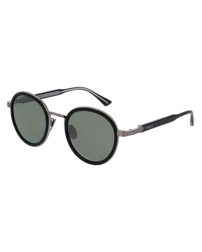 Round Engraved Titanium & Acetate Sunglasses, Black/Silvertone
