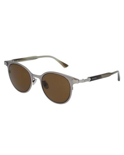 Round Titanium Sunglasses w/Engraved Details, Gray