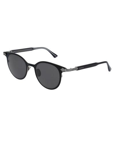 Round Titanium Sunglasses w/Engraved Details, Black