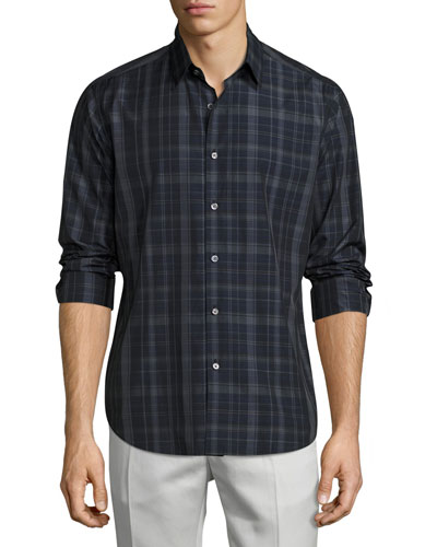 Sylvain Imandra Slim-Fit Check Sport Shirt, Blue
