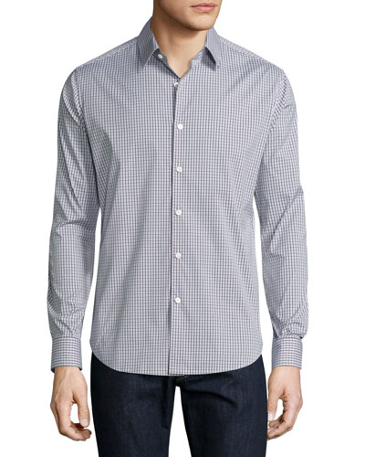 Sylvain Dillene Slim-Fit Box-Check Sport Shirt, White/Blue