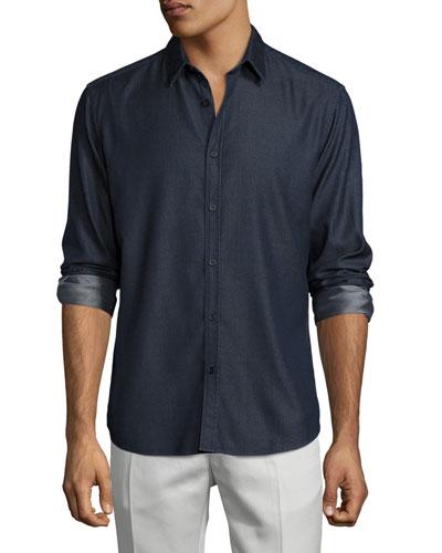 Zack Chambray Sport Shirt, Indigo