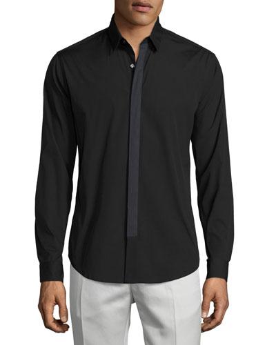 Sullivan Wealth Contrast-Placket Sport Shirt, Black