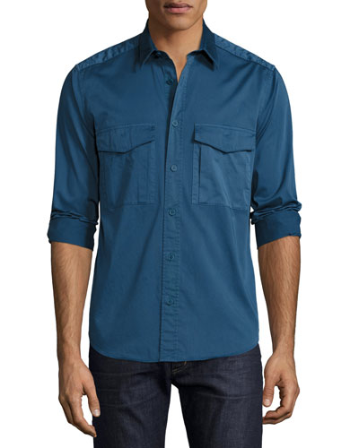Darrel Berke Double-Pocket Shirt, Royal Blue