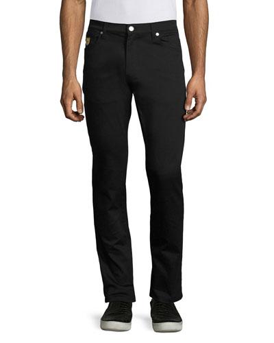 Teddy Bear Slim Straight-Leg Jeans, Black