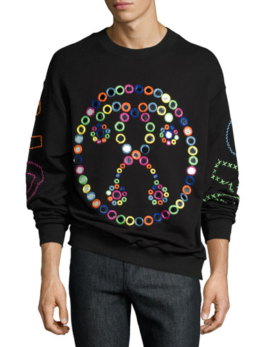 Rainbow Mirror Question Mark Sweatshirt, Black/Multicolor