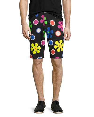 Psychedelic Flower Print Shorts, Black