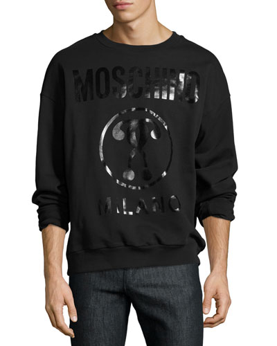 Tonal Double Question Mark Logo Sweatshirt, Black