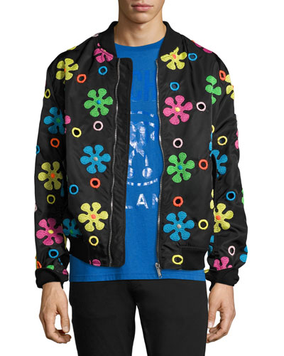 Embroidered Flower Bomber Jacket, Black