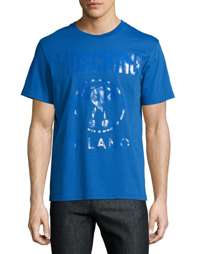 Tonal Double Question Mark Logo T-Shirt, Blue