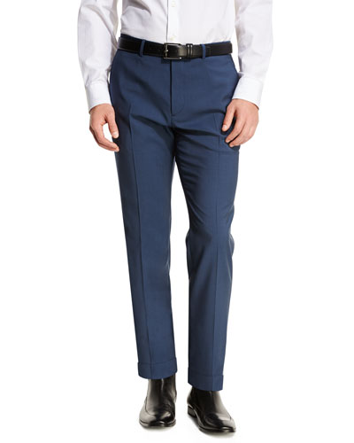 Jake W Searle Wool Slim Trousers, Navy