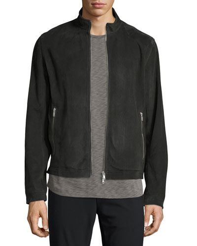 Suede Zip Track Jacket, Charcoal