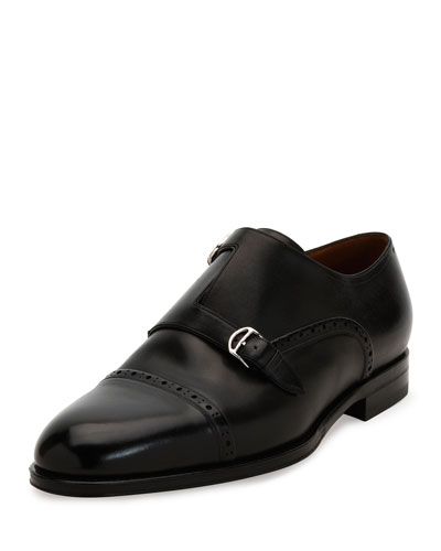 Briol Double Monk-Strap Leather Dress Shoe, Black